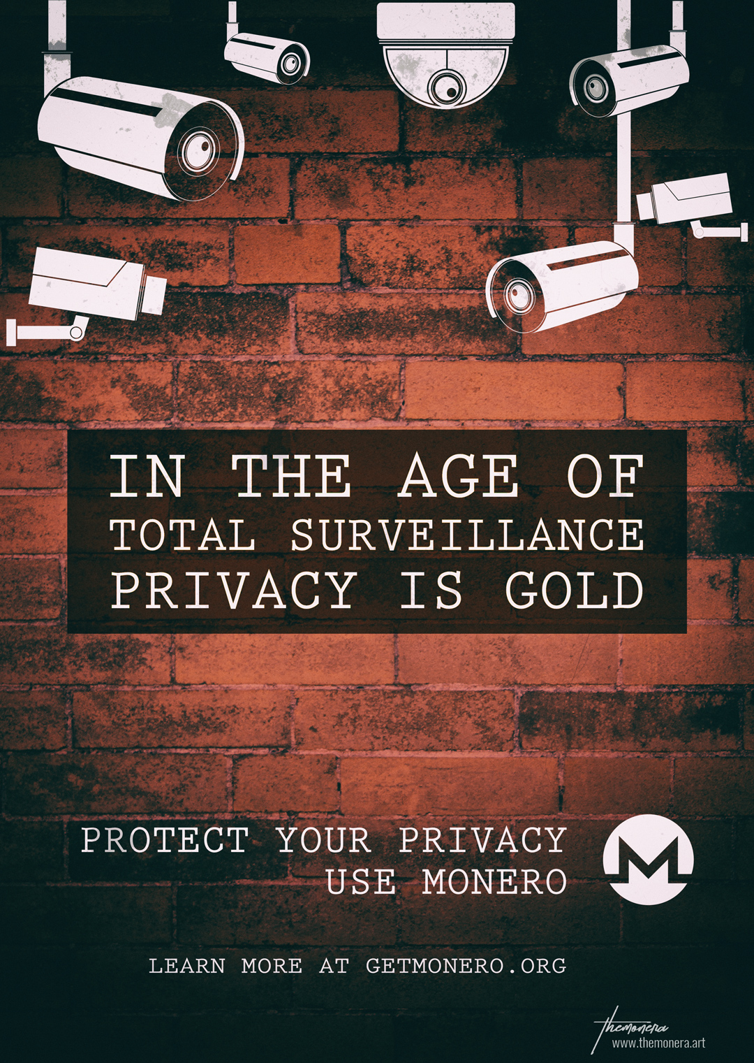 Poster about Privacy. In the Age of total surveillance, Privacy is Gold